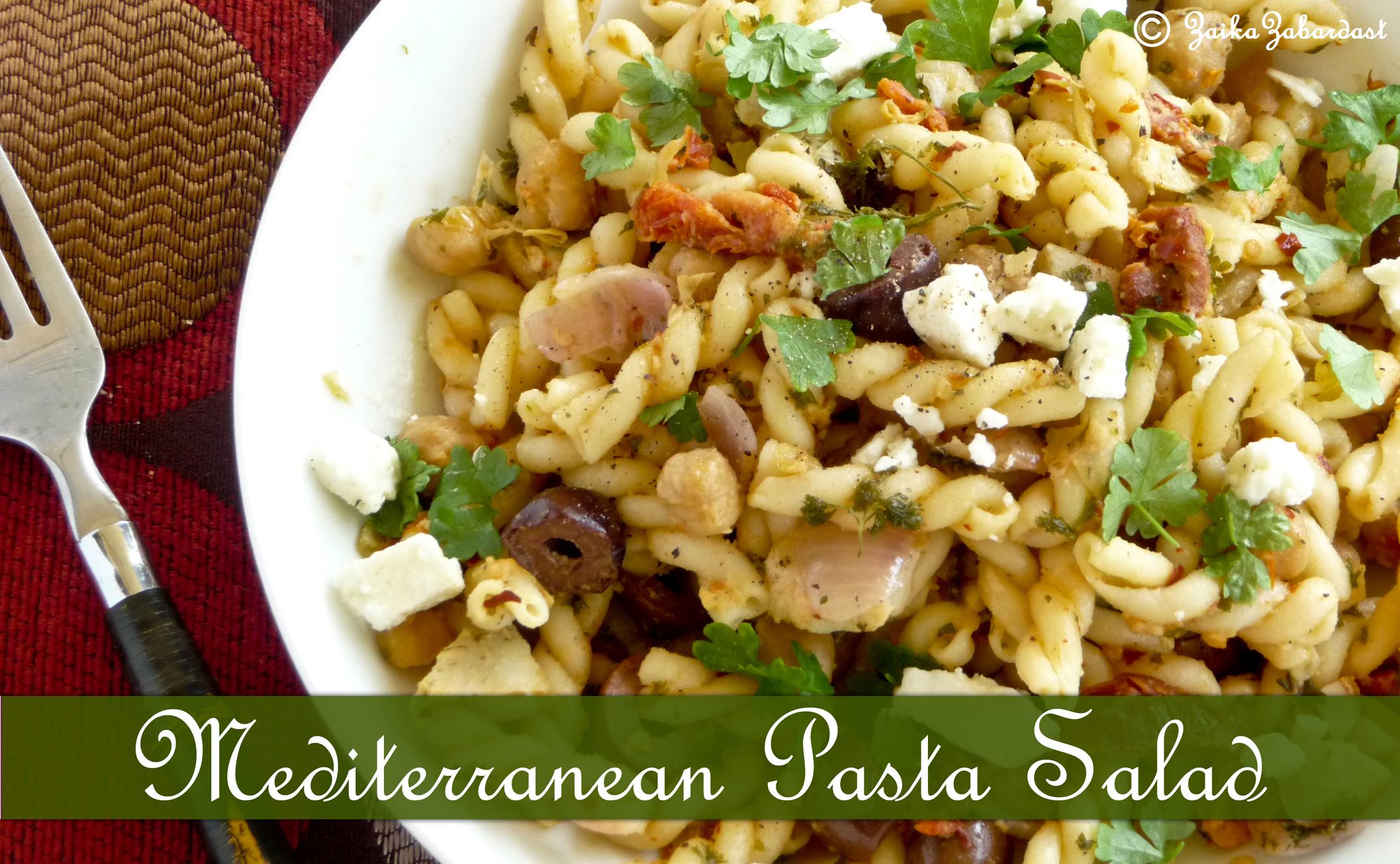 Mediterranean Pasta Salad mediterranean pasta salad zaika zabardast