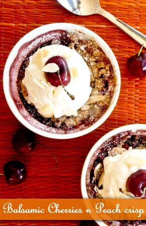 Balsamic cherries n peach crisp