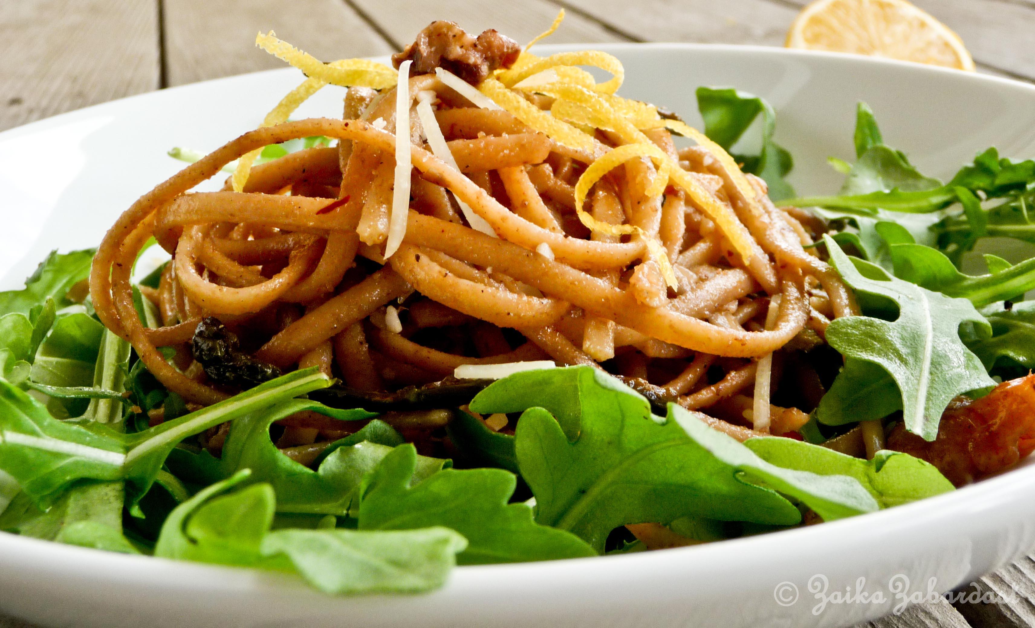 Spring pasta with lemony, garlicky, buttery walnut sauce ...