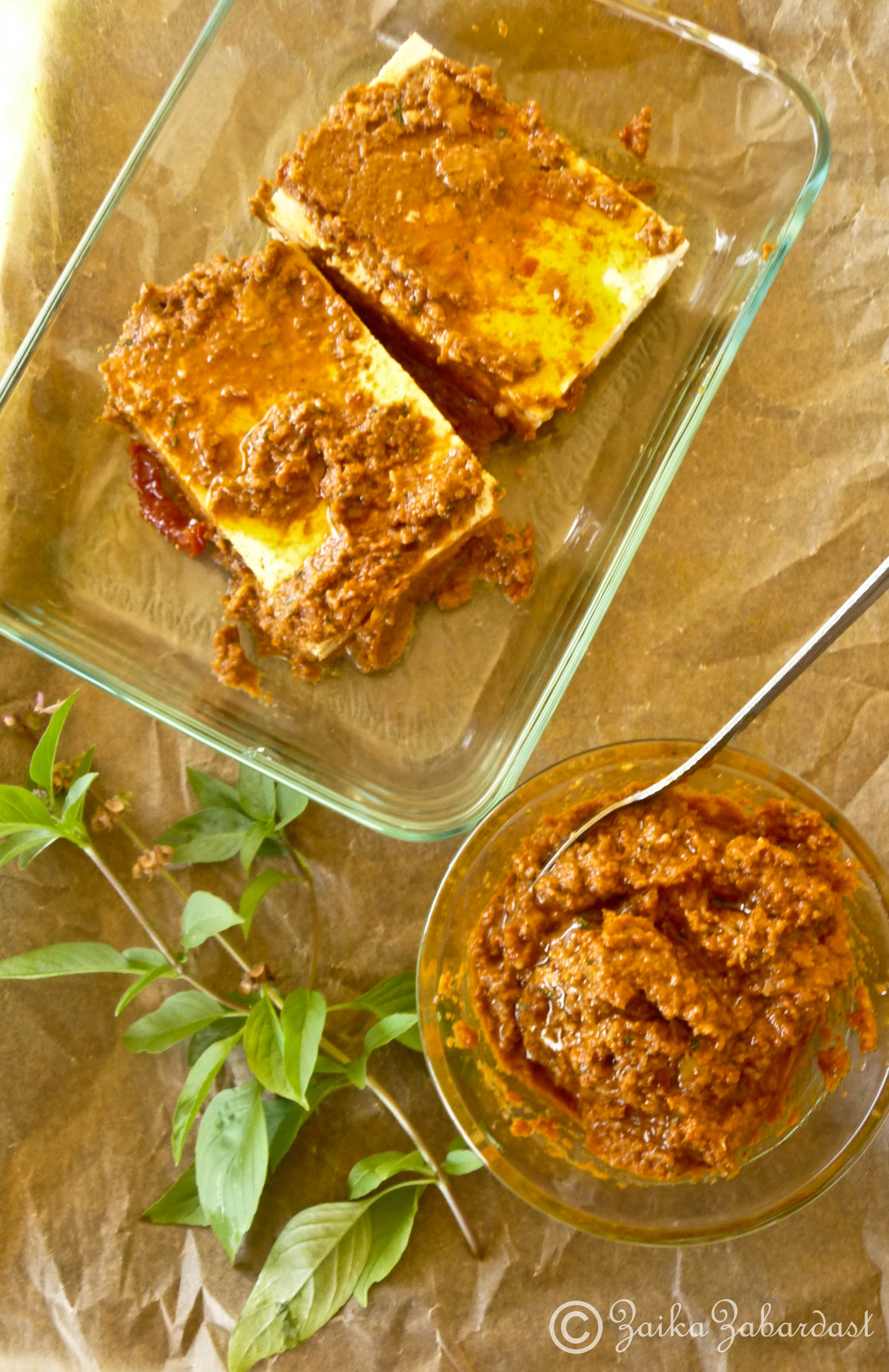 Grilled tofu and sun-dried tomato pesto grilled sandwich.