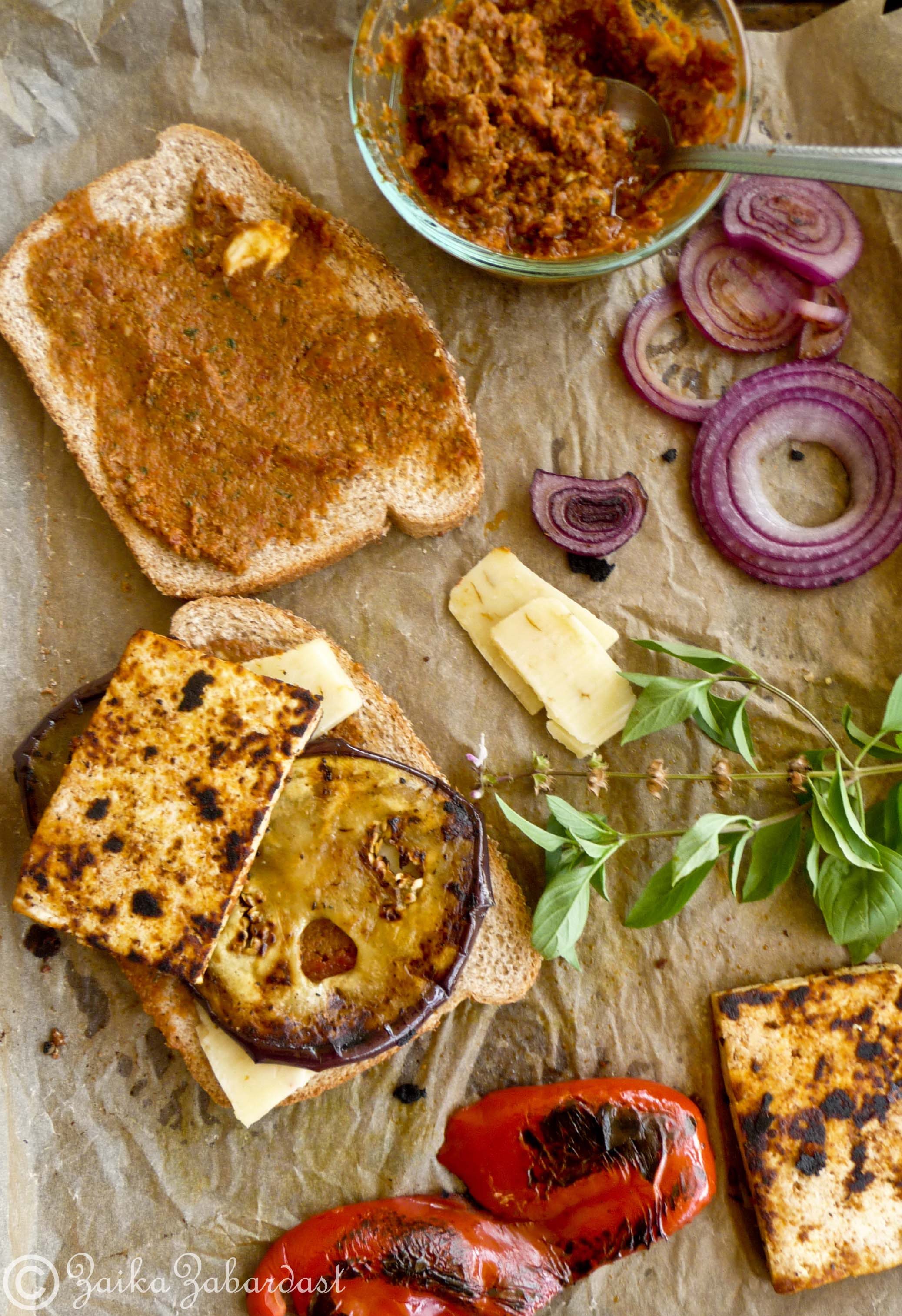 Grilled tofu and sun dried tomato pesto Sandwich! | Zaika Zabardast