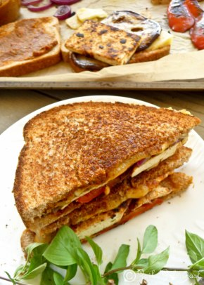 Sun dried tomato pesto sandwich with tofu n vegetables
