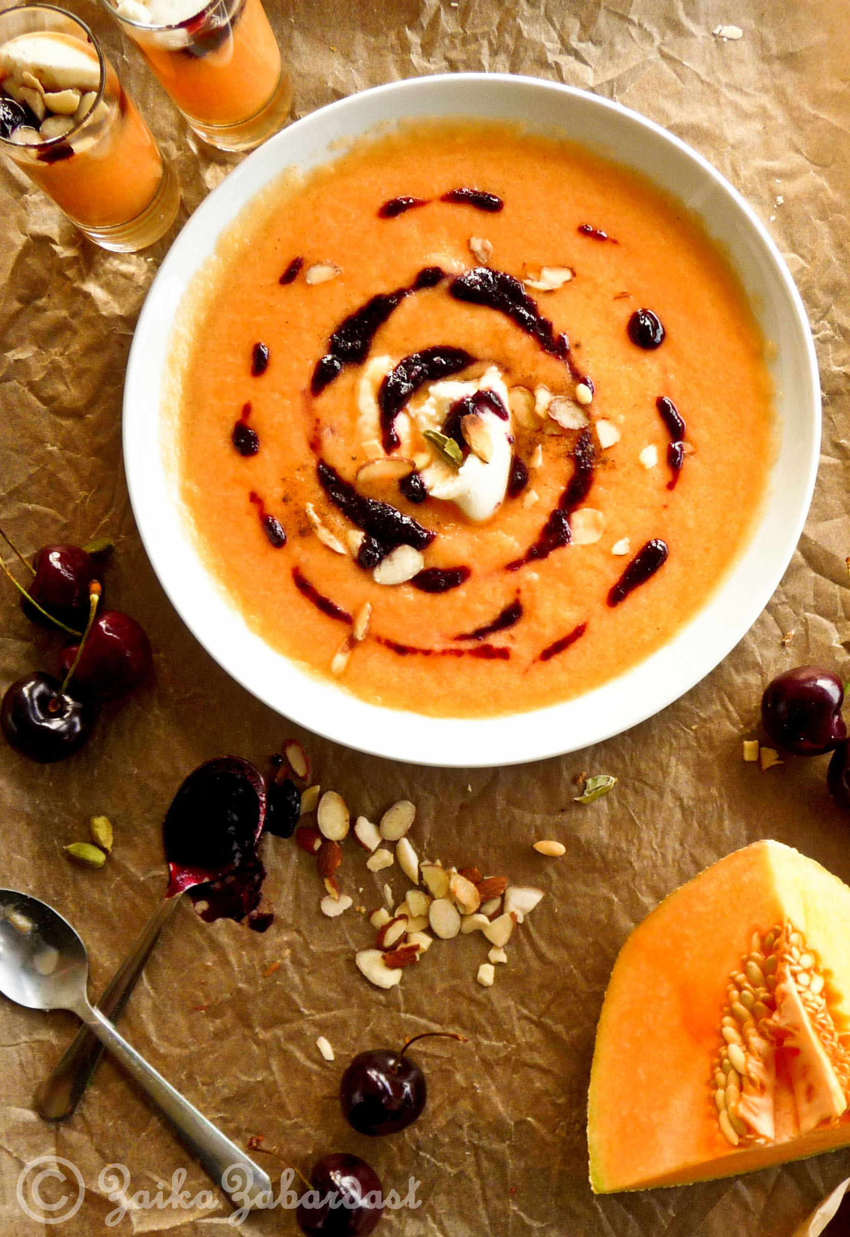 Chilled Cantaloupe soup with cardamom infused Cherry compote – A ...